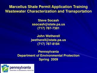 Marcellus Shale Permit Application Training Wastewater Characterization and Transportation