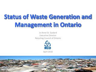 Status of Waste Generation and Management in Ontario
