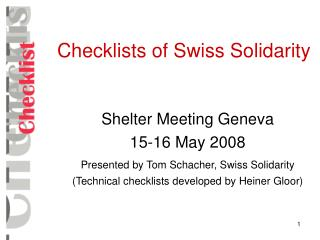 Checklists of Swiss Solidarity
