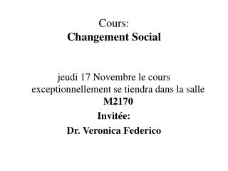Cours: Changement Social