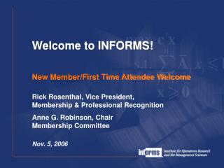 New Member/First Time Attendee Welcome