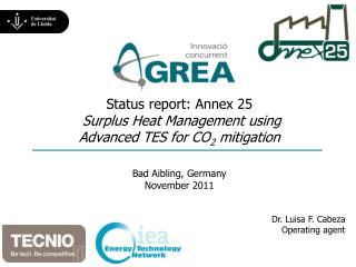 Status report: Annex 25 Surplus Heat Management using Advanced TES for CO 2  mitigation