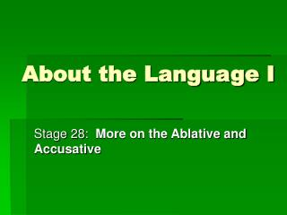 About the Language I
