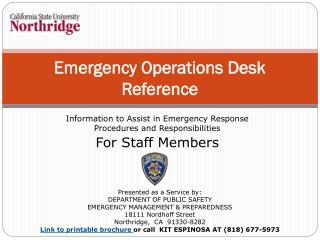 Emergency Operations Desk Reference