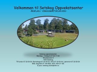 Velkommen til Setskog Oppvekstsenter ÅRSPLAN /  VIRKSOMHETSPLAN 2013