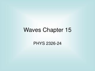 Waves Chapter 15