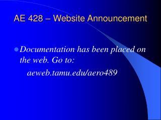 AE 428 – Website Announcement
