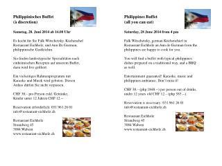 Philippinisches Buffet (à discretion) Samstag, 28. Juni 2014 ab 16.00 Uhr