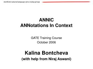 ANNIC ANNotations In Context