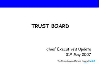 Chief Executive's Update 31 st  May 2007