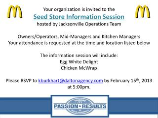 Your organization is invited to the Seed Store Information Session