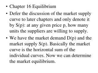 Chapter 16 Equilibrium