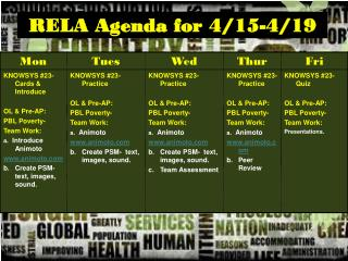 RELA Agenda for 4/15-4/19