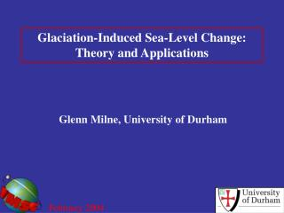 Glaciation-Induced Sea-Level Change: Theory and Applications