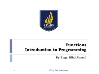 Functions Introduction to Programming