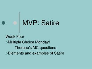 MVP: Satire
