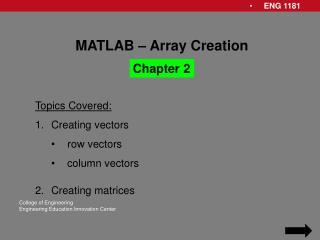 MATLAB – Array Creation