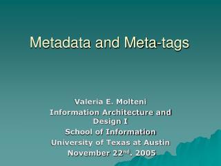 Metadata and Meta-tags