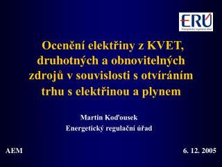 Martin Koďousek Energetický regulační úřad
