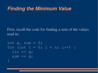 Finding the Minimum Value