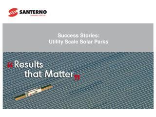Success Stories:   Utility Scale Solar Parks