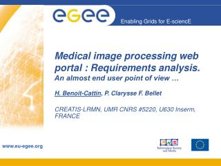 Medical image processing web portal : Requirements analysis. An almost end user point of view …