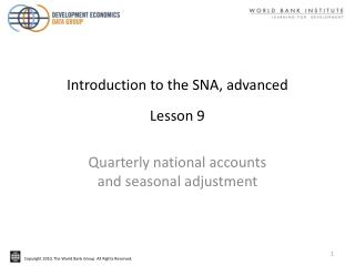 Introduction to the SNA, advanced Lesson 9