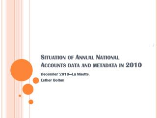 Situation of Annual National Accounts data and metadata in 2010