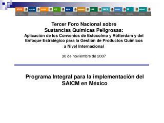 Programa Integral para la implementación del  SAICM en México