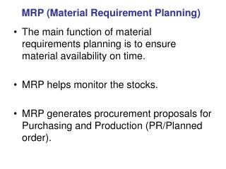 MRP (Material Requirement Planning)