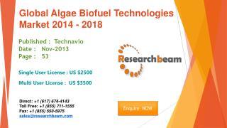 Global Algae Biofuel Technologies Market 2014 - 2018