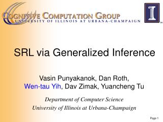 SRL via Generalized Inference