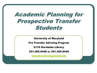 Academic Planning for Prospective Transfer Students
