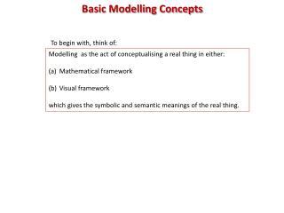 Basic Modelling Concepts
