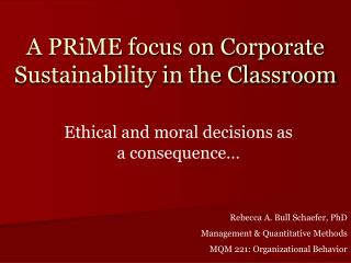 A PRiME focus on Corporate Sustainability in the Classroom