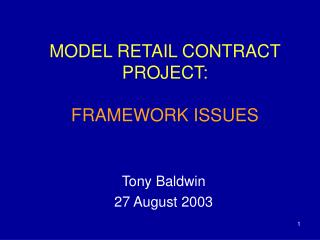 MODEL RETAIL CONTRACT PROJECT: FRAMEWORK ISSUES