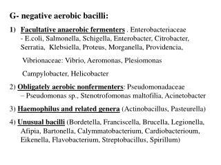 G- negative aerobic bacilli: