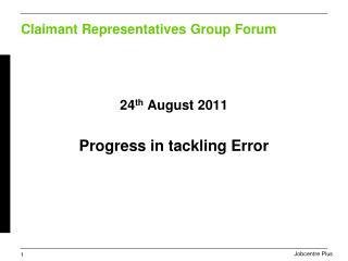 Claimant Representatives Group Forum