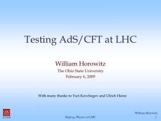 Testing AdS/CFT at LHC