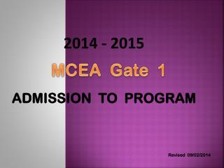 2014  -  2015 ADMISSION  TO  PROGRAM