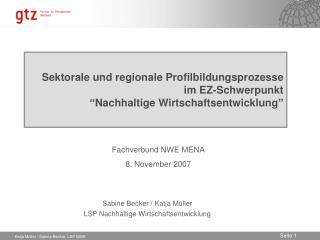Sabine Becker / Katja Müller LSP Nachhaltige Wirtschaftsentwicklung
