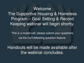 Supportive Housing & Homeless Program – Goal Setting & Record Keeping
