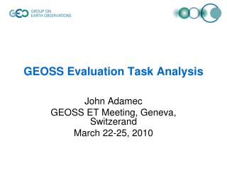 GEOSS Evaluation Task Analysis