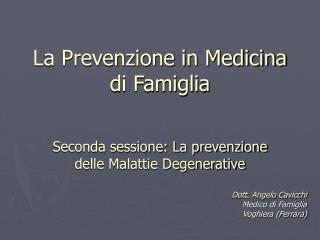 La Prevenzione in Medicina di Famiglia