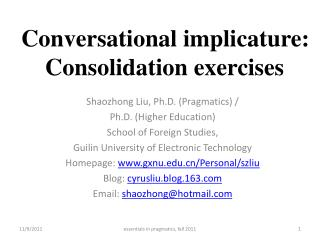Conversational implicature: Consolidation exercises