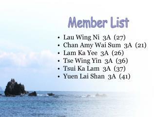Lau Wing Ni  3A  (27)  Chan Amy Wai Sum  3A  (21) Lam Ka Yee  3A  (26) Tse Wing Yin  3A  (36)