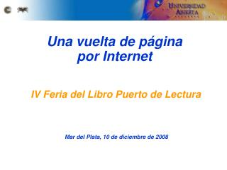 Una vuelta de página  por Internet