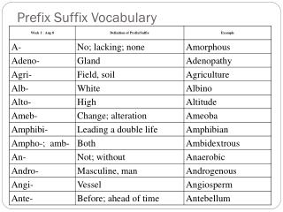 Prefix Suffix Vocabulary
