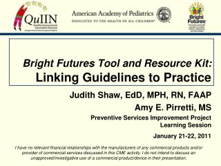 Bright Futures Tool and Resource Kit: Linking Guidelines to Practice