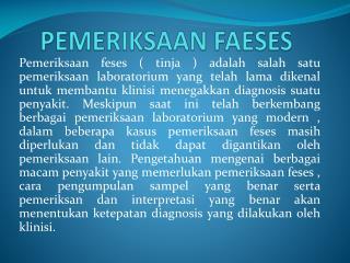 PEMERIKSAAN FAESES